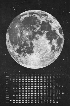 2014 Moon Phases Chalk board Calendar Instant by designbydetail //