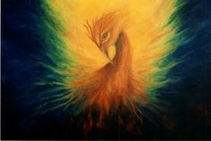 "firebirds the bird | Firebird"" Oil Painting of The Phoenix Rising by Marina Petro"
