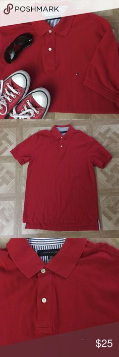 Tommy Hilfiger Red Cotton Golf Polo Shirt 100% cotton Men's red gold polo collared shirt. Signature logo embroidered on left breast pocket. Virtually brand new. Size Large. Tommy Hilfiger Shirts Polos
