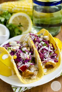 Fish Tacos with Avocado Sweet Corn. Fish Tacos with Avocado Sweet Corn Slaw are fresh and full of flavor. Feel like youre on vacation right at home! Fish Recipes, Seafood Recipes, Mexican Food Recipes, Avocado Recipes, Tilapia Recipes, Spanish Recipes, Orange Recipes, Seafood Dishes, Fish And Seafood