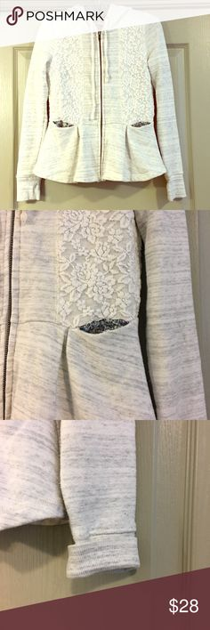 Saturday Sunday hoodie Light gray feminine peplum hoodie from Anthropologie. Floral touches and lace detail.  Both functional and pretty! Excellent condition from a smoke free home. Anthropologie Jackets & Coats