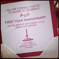 Invite from our first year anniversary