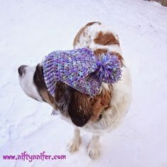 Free Crochet Pattern ~A Silly Hat For My Silly Dog  http://www.niftynnifer.stfi.re/2015/01/free-crochet-pattern-silly-hat-for-my.html #Crochet #Hat #Dog
