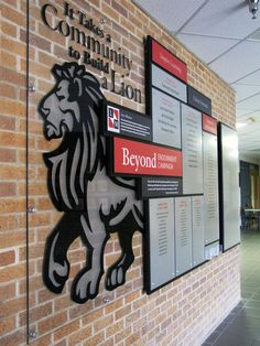 High School recognition display and school branding wall, complete with the mascot.