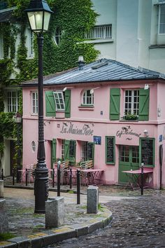 "travelwithpratibha: "" La Maison Rose cafe and restaurant on Rue de l'Abreuvoir in the village of Montmartre, Paris, France "" Montmartre is so lovely Oh The Places You'll Go, Places To Travel, Travel Destinations, Paris France, Montmartre Paris, Paris Paris, Belle Villa, I Love Paris, Pink Houses"