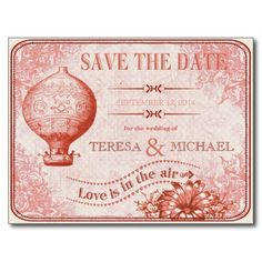 Vintage Hot Air Balloon Wedding Save the Date C3 Post Card