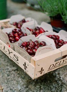 Punnets of cherries.