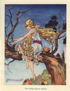 """The Golden-Haired Maiden  By Florence Mary Anderson  From the story """" The Golden-Haired Maiden """""""