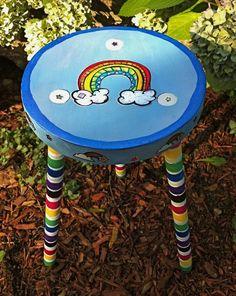 Rainbow Wooden Stool #recycle #repurpose