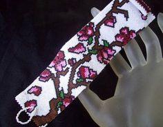 Handmade Cherry Blossom Tree Peyote Bracelet Cuff. Starting at $60 on Tophatter.com!
