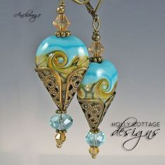 Artisan Crafted Lampwork & Crystal Earrings