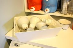 we also store our lightbulbs in the laundry room.