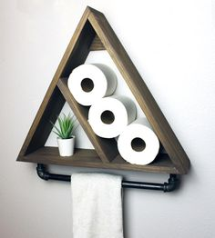 Triangle Bathroom Shelf with Industrial Farmhouse Towel Bar, Geometric Country Rustic Storage. Triangle Bathroom Shelf with Industrial Farmhouse Towel Bar, Geometric Country Rustic Storage, Mode Industrial Farmhouse, Farmhouse Decor, Modern Farmhouse, Modern Country, Modern Rustic, Country Farmhouse, Modern Industrial, Industrial Design, French Country