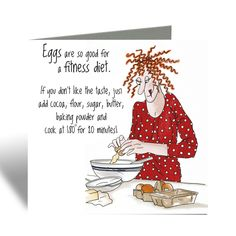 Eggs are so good for a fitness diet! - Camilla & Rose Blank Greeting Card, Humorous Birthday Card, Cards For Friends Funny Cards For Friends, Friends Are Like, Camilla Rose, Bee Cards, Christmas Owls, Red Envelope, Happy Paintings, Funny Birthday Cards, Animal Cards