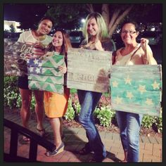 Pallet Wood Flags made during our Workshop tonight at Sweet Grass to display during Labor Day and after!