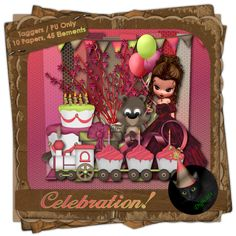 Celebration! - Birthday themed digital taggers kit composed of 10 (800 x 800 pixel, .jpg) and 45 .png elements including 1 Garnet poser by ©MediEvil Creations. 300 DPI.  Personal use only.