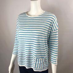 J.Jill XS Knit Top Linen Blend 3/4 Sleeves Blue Stripe Round Neck Pocket EUC #JJill #KnitTop #Casual
