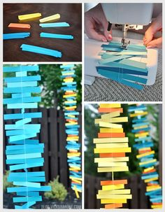 DIY Paper Strip Garland - Party Decor - Blue, Orange, Yellow, Teal - Cardstock and a sewing machine!