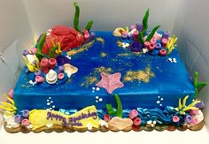 Fondant decorated under the sea birthday sheet cake - Mueller's Bakery!