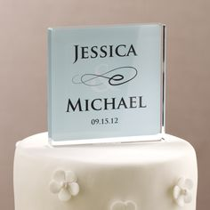 Personalized Wedding Cake Topper | #exclusivelyweddings | #lightbluewedding