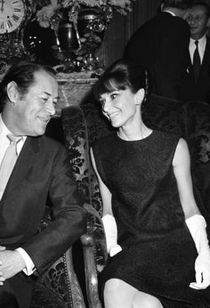 Audrey Hepburn and Rex Harrison at a My Fair Lady press conference in Paris, France, 1964.