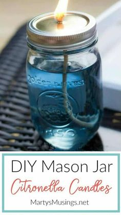 These easy and inexpensive DIY citronella candles are easy to make, look adorable in mason jars and help get rid of bugs! Perfect summer craft! #masonjarcrafts #citronellacandlesdiy #masonjarcandles #backyard #outdoorentertaining #martysmusings