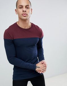 Browse online for the newest ASOS DESIGN muscle fit long sleeve t-shirt with contrast yoke in navy styles. Shop easier with ASOS' multiple payments and return options (Ts&Cs apply). Mens Fashion Wear, Casual Outfits, Casual Clothes, Asos, Street Wear, Business Wear, Scotch, Mens Tops, T Shirt