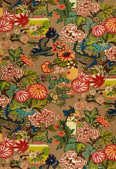 Chiang Mai Dragon Schumacher Fabric I am going to upholster something in this I love it.