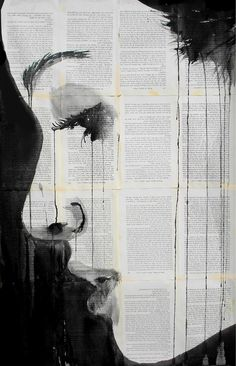 Powerful Pen and Dripping Ink Drawings on Pages of Vintage Books Queensland, Australia-based artist Loui Jover creates striking artworks by using pen and dripping ink on pages of vintage books. Photographie Street Art, Poesia Visual, Love Scenes, Ink Drawings, Illustrations, Vintage Books, Vintage Library, Antique Books, Oeuvre D'art
