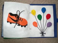 Shoe lacing and colorful balloons (that come off with velcro)