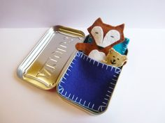 Fox in a Box with blue bedding - wool felt fox and teddy bear in Altoids Tin - travel toy - pocket toy - purse toy - in stock ready to ship