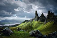 Old man of Stor, Isle of Skye, Scotland, mountain, landscape, storm, rocks, grass, photography