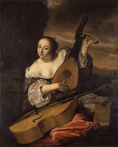 """""""The Musician"""" by Bartholomeus van der Helst (1662) at the Metropolitan Museum of Art, New York - From the curators' comments: """"The woman tunes a theorbo-lute, and a viola da gamba lies in front of her. Printed music in tenor and soprano parts rests on a carpet-covered table nearby. By her direct gaze, the woman seems to address a male viewer, inviting him to take up the gamba and join her in a duet."""""""