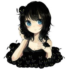 Image result for anime girl with black hair