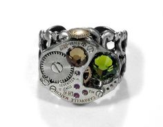 Steampunk Ring Vintage Jeweled Watch Adjustable Ring Topaz and Olive Swarovski Crystals STUNNING Ring - Steampunk Jewelry by edmdesigns