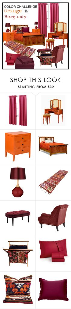 """Color Callenge: Orange & Burgundy"" by rosidew on Polyvore featuring interior, interiors, interior design, Zuhause, home decor, interior decorating, Sun Zero, Poundex, Jeffan und DutchCrafters"