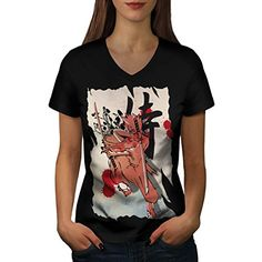 Japan Fighter Samurai Anime Art Women NEW Black L VNeck Tshirt  Wellcoda >>> Continue to the product at the image link.