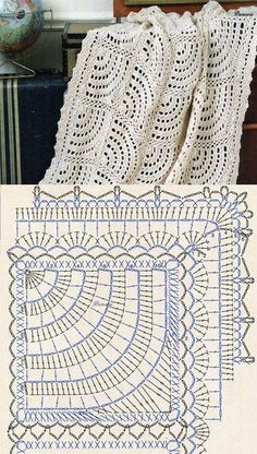 Crochet Bedspread Patterns Part 17 - Beautiful Crochet Patterns and Knitting Patterns Filet Crochet, Beau Crochet, Crochet Diy, Crochet Diagram, Crochet Chart, Crochet Home, Crochet Motif, Crochet Doilies, Diagram Chart