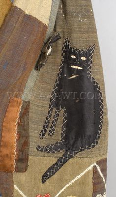 Antique Skirt, Applique Story Skirt, in the manner of Harriet Powers, cat detail