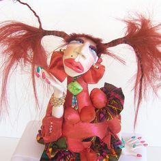 Iridescent Primrose Art Doll Big Auburn Pigtails Turquoise Slippers Joan Allen OOAK Jointed Knees
