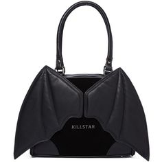 Killstar Tokyo Nights Handbag ($56) ❤ liked on Polyvore featuring bags, handbags, zip bag, zipper handbags, man bag, killstar and winged bags