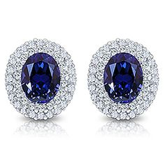 Nova Oval with Rounds Cluster Earrings, 4.25 Carats T.W.