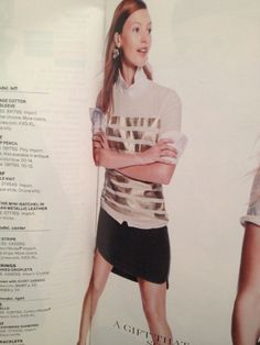 J crew catalog. Love the striped tshirt with button down underneath
