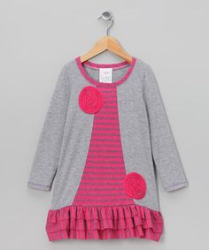 Another fun and comfy outfit for preschool in the #fall     Take a look at this Gray Stripe Ruffle Dress - Toddler & Girls by Freckles + Kitty on #zulily today!