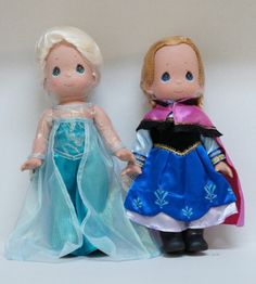 "Disney Parks Frozen Anna & Elsa 12"" Doll Set Precious Moments Signed Linda Rick #PreciousMoments"