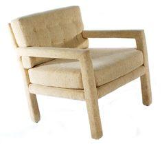 Vintage Parsons Lounge Chair  Description:  1970's Classic Upholstered Parsons Lounge Chair in Neutral Beige Color.
