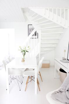 White nordic style dining room