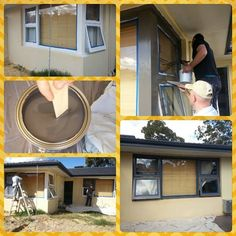 Jarrah Jungle home renovations - Before and After: Window frames from white to charcoal with Dulux paint  #diy #homeimprovement #productreview #beforeand after