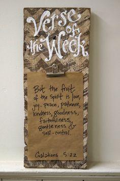 Chevron Verse of the Week Clip Holder Frame barn wood by kijsa