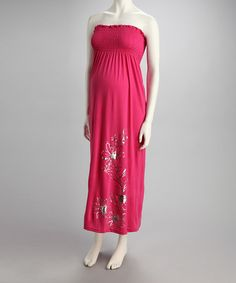 Take a look at this Hot Pink Hibiscus Maternity Maxi Dress - Women by Yoki on #zulily today!